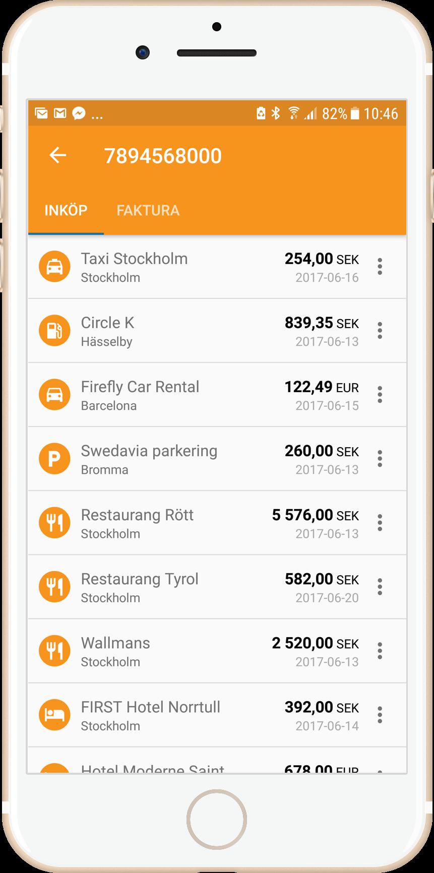 Mobiltelefon som visar inköp i Expense mopbilapp